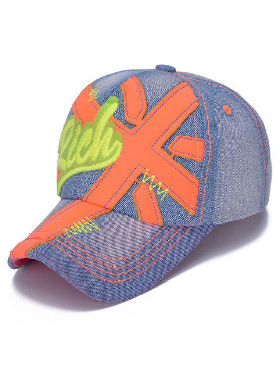 أنيق شكل إلكتروني وزين مزين الجينز قبعة بيسبول للأطفال - البرتقالي