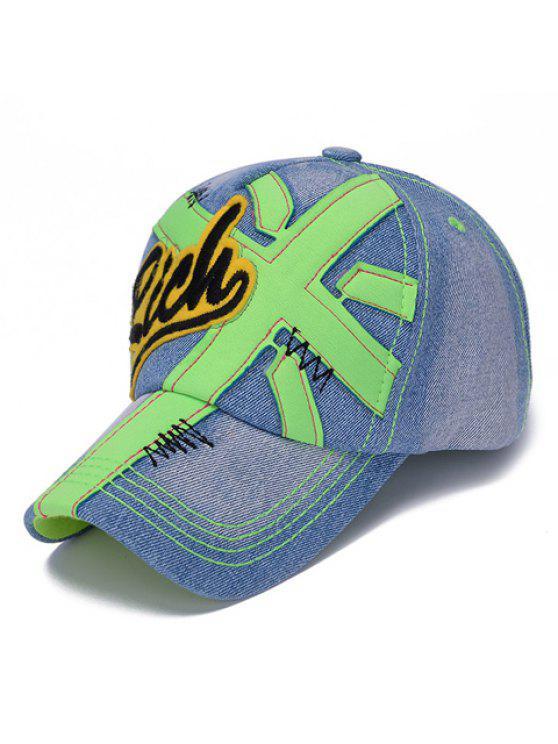 أنيق شكل إلكتروني وزين مزين الجينز قبعة بيسبول للأطفال - اخضر فاتح