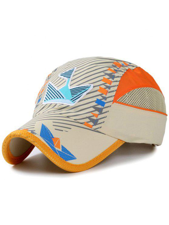 أنيقة التطريز حك و العلم الصغير نمط قبعة بيسبول للأطفال - اللون البيج