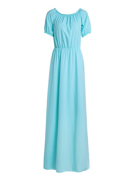 affordable Solid Color Elastic Waist Maxi Dress - LAKE BLUE S