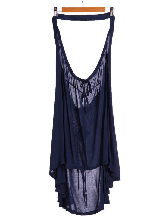 chic Drawstring Swing Tunic Dress - BLUE S