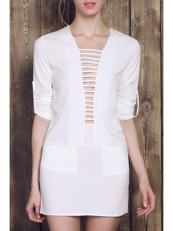 affordable Plunging Neck Pocket Mini Dress - WHITE S