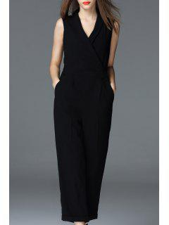 Pure Color Pencil Jumpsuit - Black S