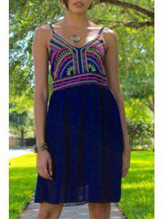 Color Block Print Spaghetti Strap Dress - Purplish Blue S