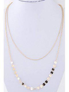 Sequins Double-Deck Necklace - Golden