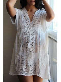 Plunging Neck Cut Out Lace-Up White Cover-Up - White