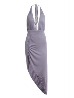 Plunging Neck Solid Color High Slit Maxi Dress - Gray S