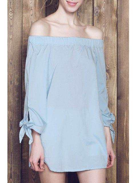 lady Bow Tie Sleeve Bardot Dress - BLUE S Mobile