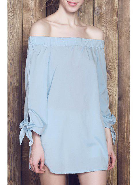 online Bow Tie Sleeve Bardot Dress - BLUE L Mobile
