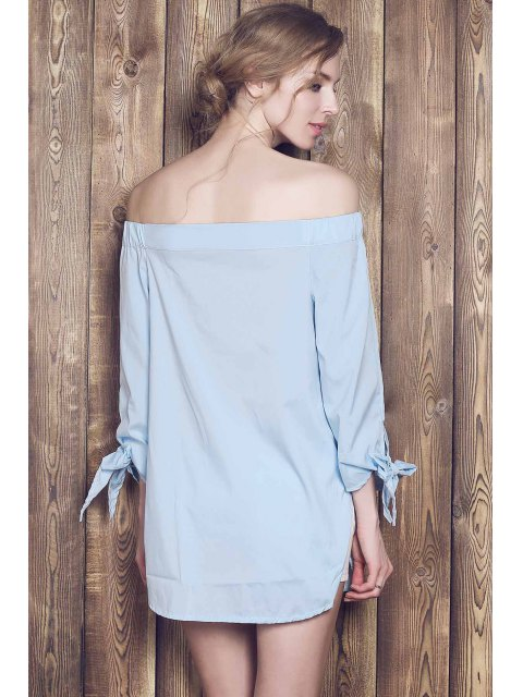 new Bow Tie Sleeve Bardot Dress - BLUE XL Mobile