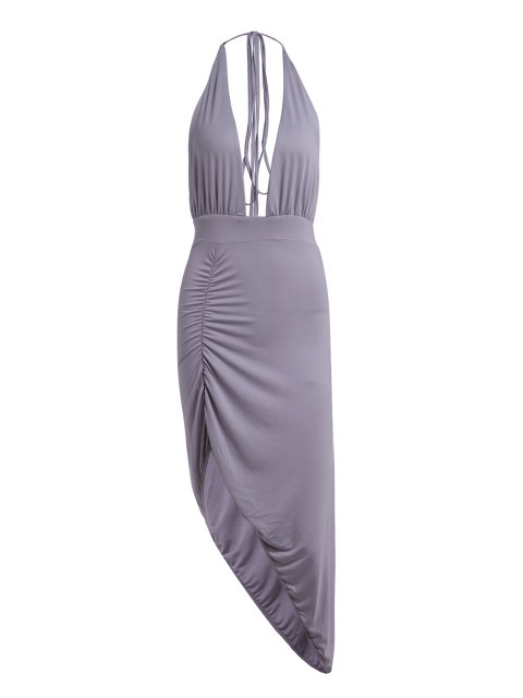 women Plunging Neck Solid Color High Slit Maxi Dress - GRAY S Mobile