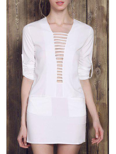 Plunging Neck Pocket Mini Dress - Weiß M