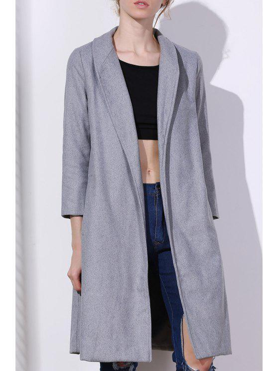 Manteau gris en laine mélangée à revers - Gris XL
