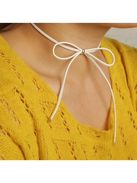 Hollow Out Adjustable Bow Embellished Chokers - 白色