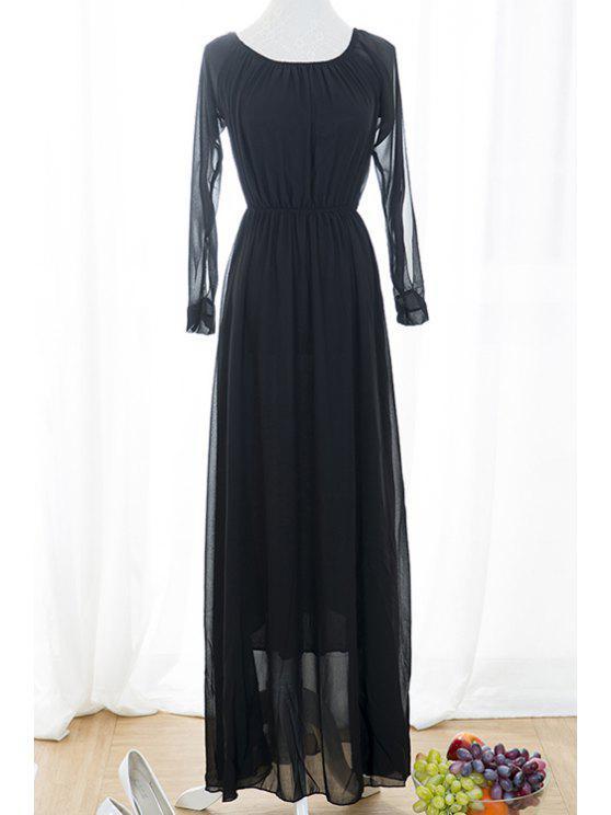 fashion Black Voile Spliced Split Sleeve Off The Shoulder Dress - BLACK S