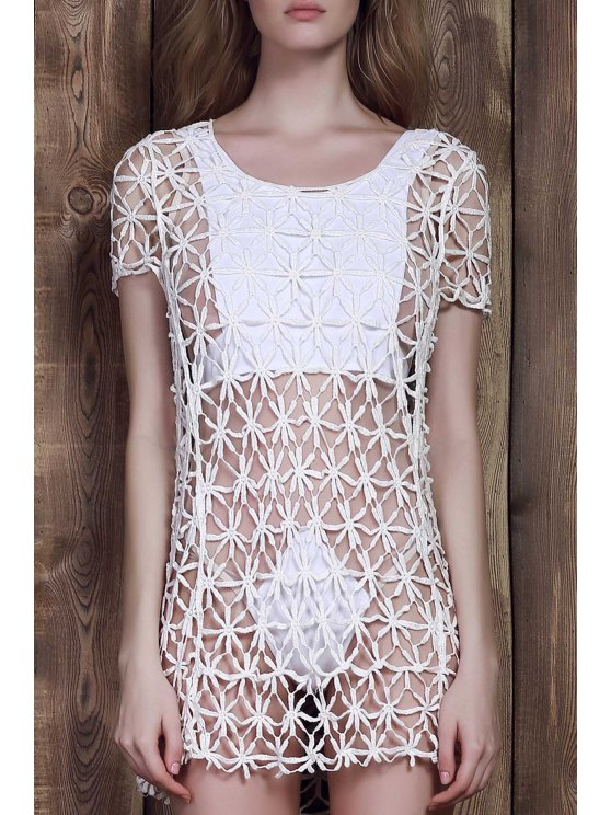 sale Short Sleeve Crochet Flower Openwork Cover-Up - WHITE ONE SIZE(FIT SIZE XS TO M)