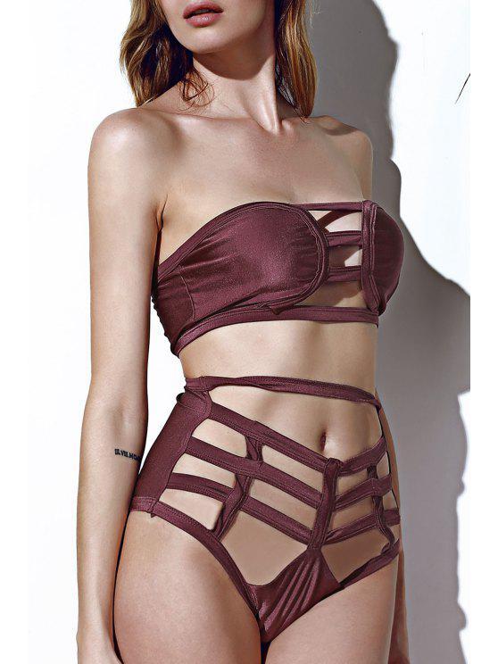 Strapless céu aberto Bandage Bikini Set - Café L