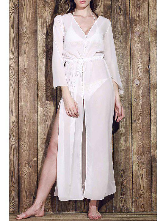 womens Chiffon V-Neck Long Sleeve Cover Up - WHITE ONE SIZE(FIT SIZE XS TO M)