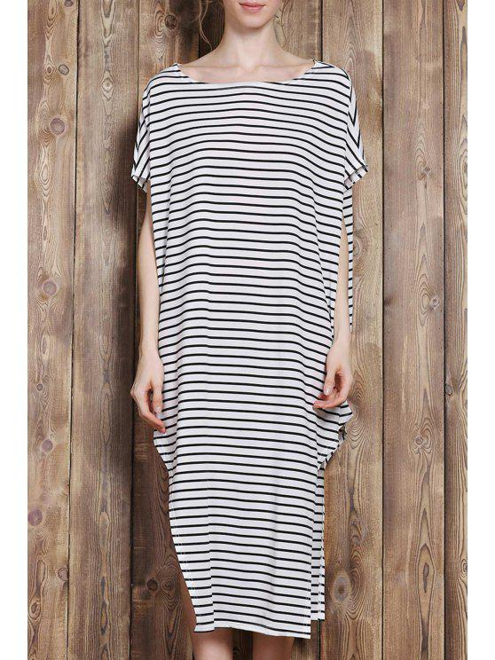chic One-Shoulder Striped Asymmetrical Dress - WHITE AND BLACK L