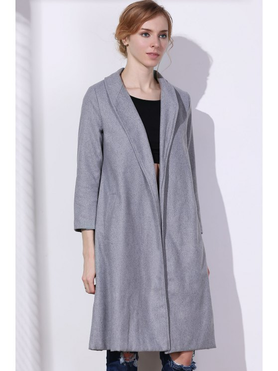 Shawl Neck Gray Wool Coat - Gray M