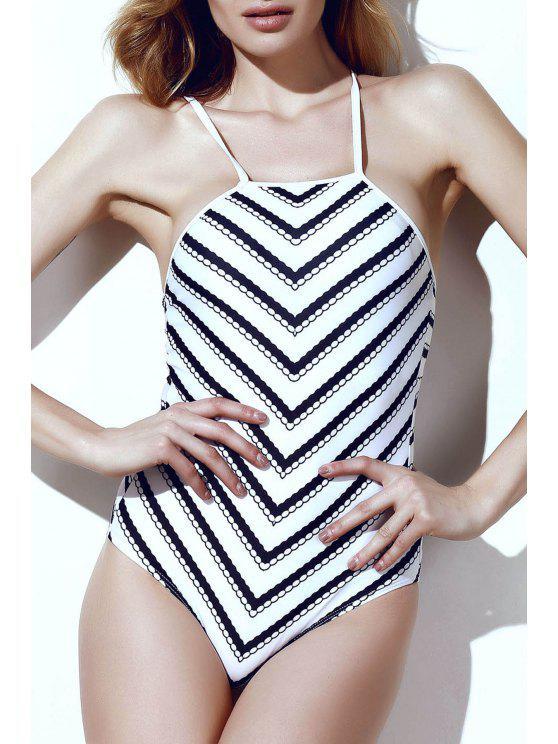 Rayas onduladas de una sola pieza del traje de baño - Blanco y Negro L