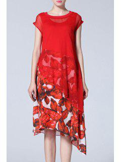 Asymmetric Dress And Floral Dress - Red S