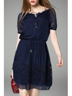 Pleated A Line Office Dress - Purplish Blue S