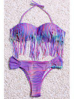 Printed Tasseles Spliced Halter Bikini Set - Light Purple L