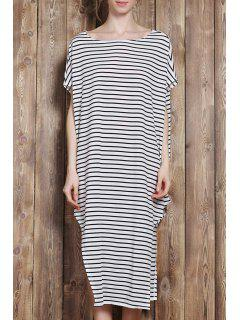 One-Shoulder Striped Asymmetrical Dress - White And Black 2xl