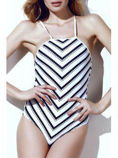 Wavy Stripes One-Piece Swimwear - White And Black L