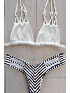 Stripes Halter Bikini Set - White L