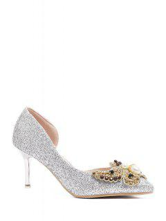 Sequins Butterfly Pointed Toe Pumps - Silver 39