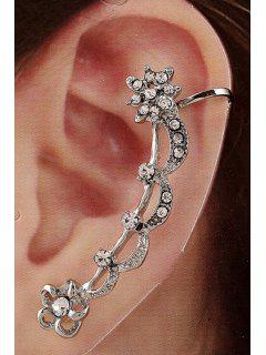 Rhinestone Flower Cartilage Earrings - Silver