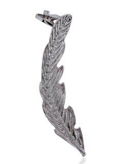 Alloy Feather Cartilage Earrings - Silver