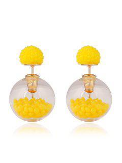 Resin Small Ball Pendant Stud Earrings - Yellow