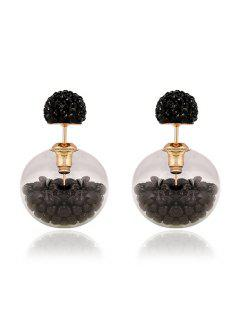 Resin Small Ball Pendant Stud Earrings - Black