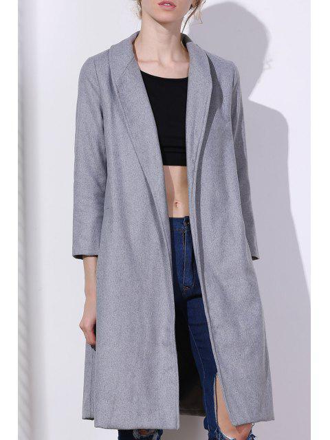 Abrigo de lana gris cuello chal - Gris M Mobile