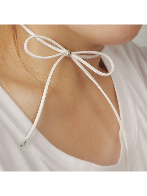 Chic évider Bow embellies Sautoirs chaîne pour les femmes - Blanc  Mobile