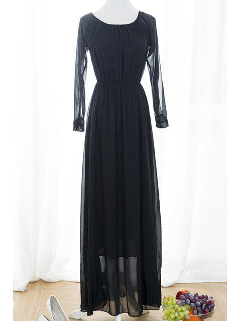 fashion Black Voile Spliced Split Sleeve Off The Shoulder Dress - BLACK S Mobile