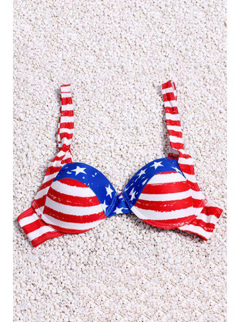 shops Stripe Spliced Print Straps Bikini Set - RED S Mobile