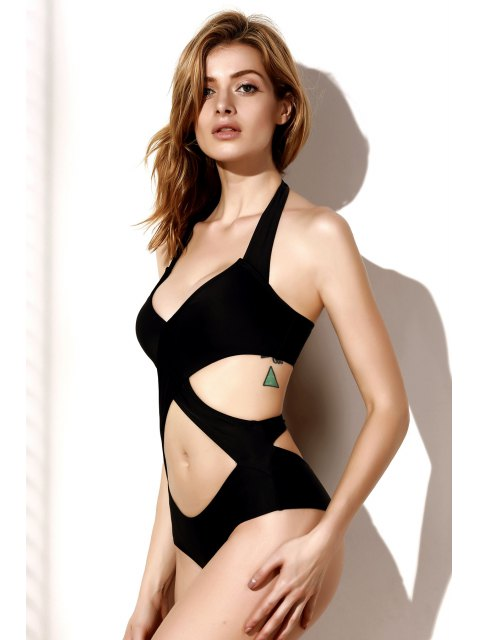 affordable Cutout One-Piece Bandage Swimsuit - BLACK S Mobile