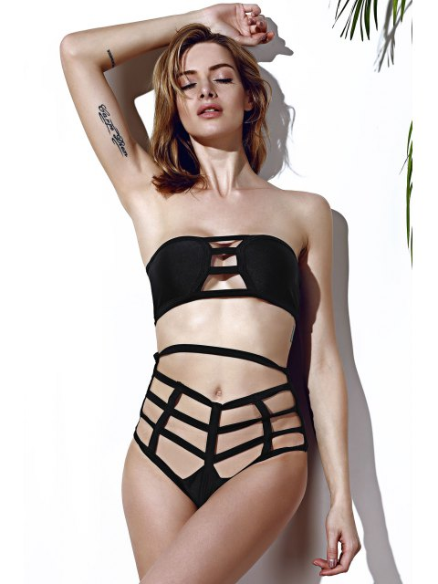 best Strapless Openwork Bandage Bikini Set - BLACK L Mobile