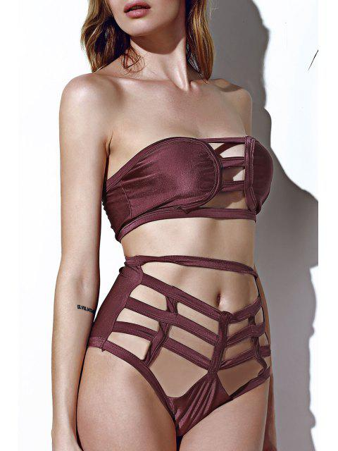 fashion Strapless Openwork Bandage Bikini Set - COFFEE XL Mobile