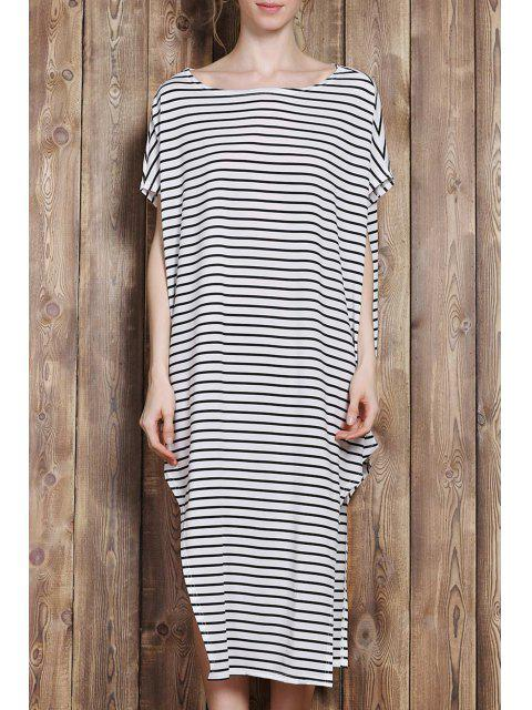 chic One-Shoulder Striped Asymmetrical Dress - WHITE AND BLACK L Mobile