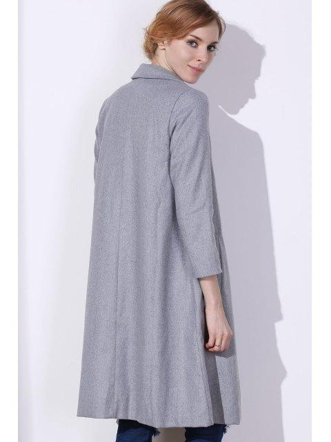 shop Shawl Neck Gray Wool Coat - GRAY M Mobile