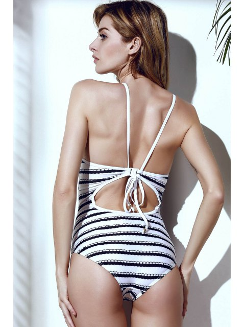 hot Wavy Stripes One-Piece Swimwear - WHITE AND BLACK L Mobile