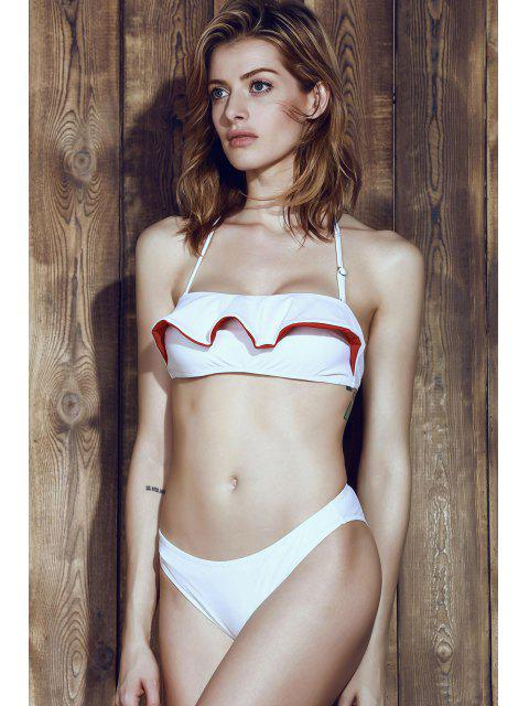 chic Halter Frilled Two-Tone Bikini Set - RED WITH WHITE S Mobile