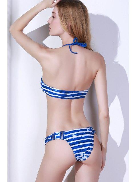 women's Crochet Spliced Striped High Neck Bikini Set - BLUE L Mobile