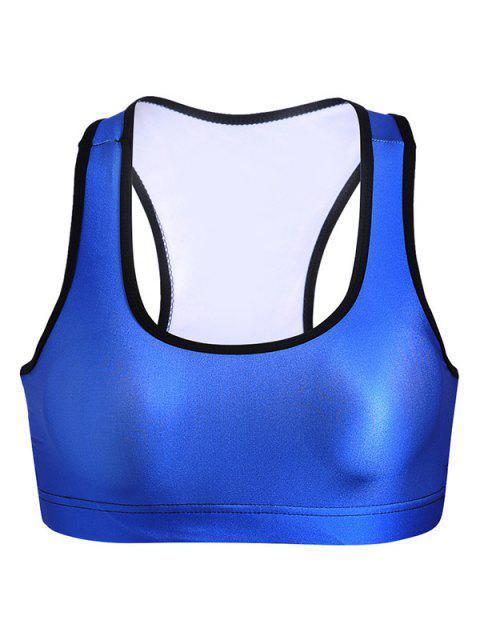 ladies U Neck Yoga Bra - BLUE L Mobile