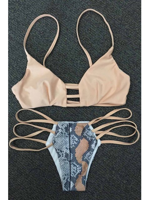 latest Snakeskin Print Strappy Bikini Set - KHAKI XL Mobile